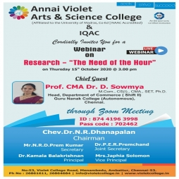 "Webinar on Research – ""The Need of the Hour"""